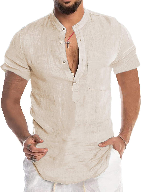 Babioboa Men's Long-awaited Cotton service Linen Henley Sleeve Shirt Basic Summe Long