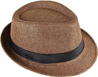 Cappello Bogart Made in Italy fiebig Fedora Cappello di Paglia con Nastro Marrone Colore Naturale Cappello da Sole per Uomo e Donna Cappello Estivo a Tesa Larga in Molte Misure