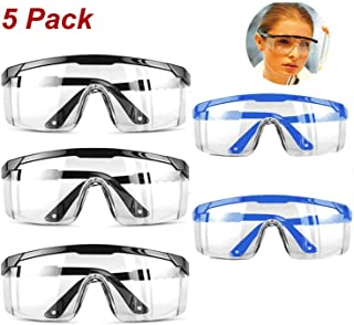 Safety Glasses Eyewear Protective Safety Goggles with Universal Fit and Clear View,Anti-fog Anti-Scratch and Impact Resistant Glasses Spectacles mixed Color Set-5 PACK