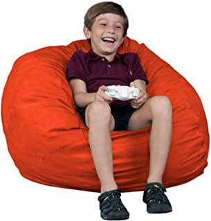 FUGU Kids Beanbag Chair, Premium Foam Filled 2', Protective Liner Plus Removable Machine Wash, Orange