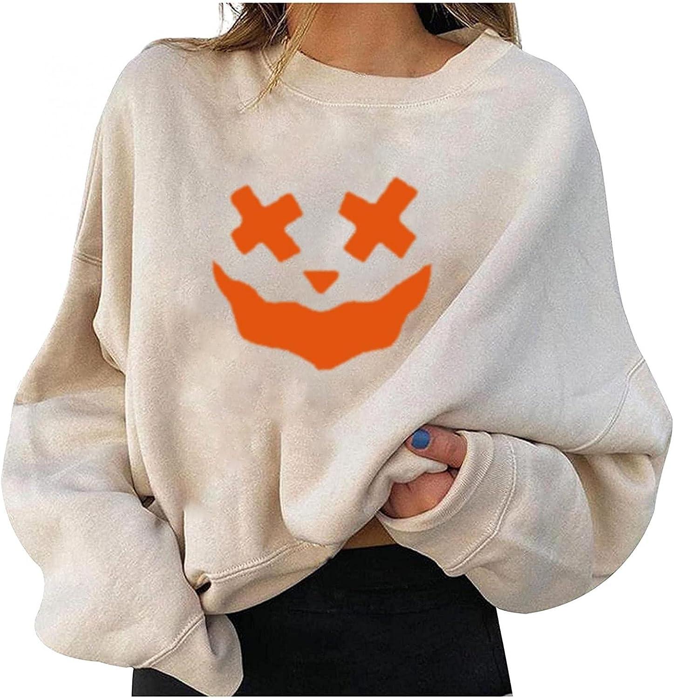 Halloween Women Sweatshirts Cute Pumpkin Ghost Black Cat Bat Print Casual Sweaters Long Sleeve Crewneck Pullover 202