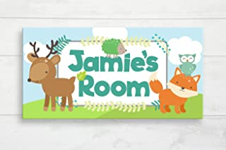 Woodland Animal Door Sign Woodland Nursery Forest Animals Kids Door Plaque Baby Name Door Sign Baby Gift Kids Wall Hanger Custom Name