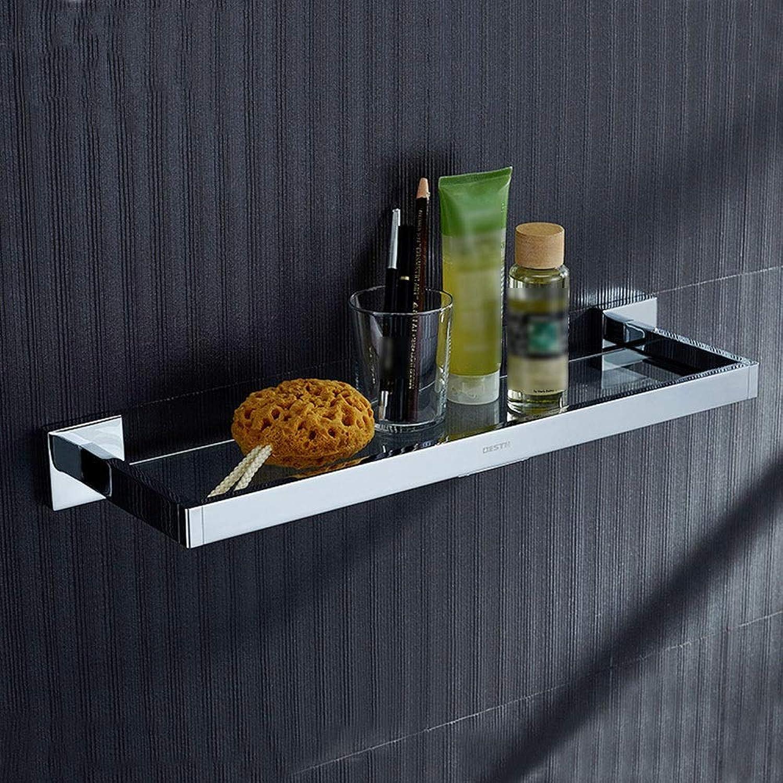 XSJJ Bathroom Glass Shelf, Shelf Single-Layer Copper Glass Dressing Table Shelf Bathroom Pendant Bathroom Glass Shelf (Size   30cm 11.8inch)