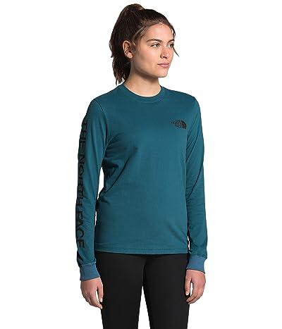 The North Face Brand Proud Long Sleeve Tee (Mallard Blue/TNF Black) Women