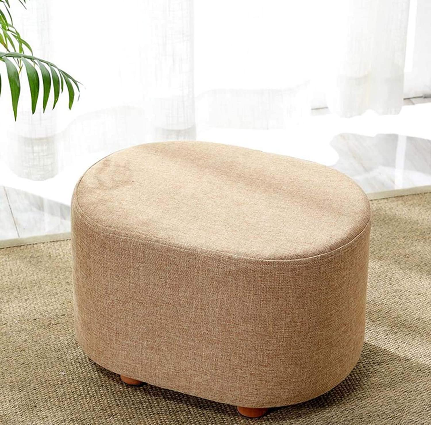 Fabric Solid Wood Living Room Creative Short Stool Bench Stool Change shoes Bench Sofa Stool Ankle,Khaki