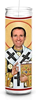 Celebrity Prayer Candles Drew Brees Funny Saint Candle - 8 inch Glass Prayer Votive - 100% Handmade in USA - Novelty Celebrity Gift