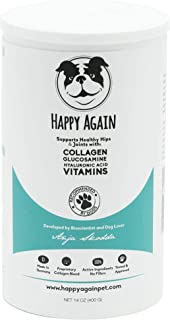 Happy Again Joint Supplement for Dogs. Natural, Human-Grade Collagen, Glucosamine, Hyaluronic Acid & Vitamins. Bioscientist Developed.