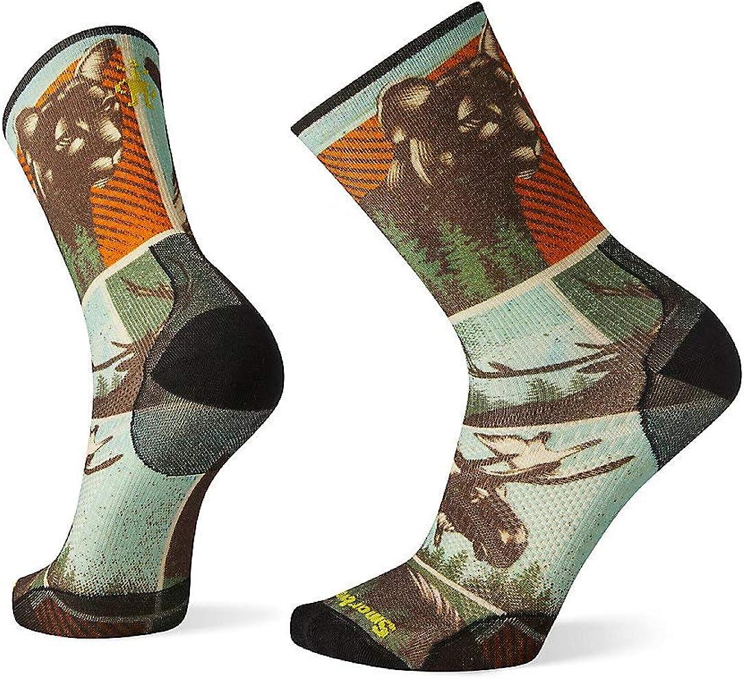 Smartwool Men's PhD Outdoor Adventure On Print Crew Ultra Light Merino Wool Socks, Light Gray, Large