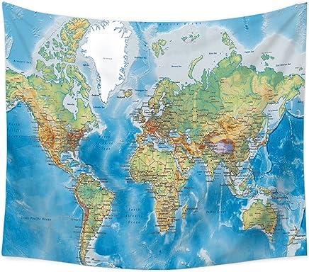 DNSJB 世界地図タペストリー、壁掛けイエローパープル水彩の自然大きなテーブルクロス壁のベッドルームのホームインテリアピクニックテーブルクロスカーテンビーチタオル (Color : C, Size : 150x130cm(59*51inch))