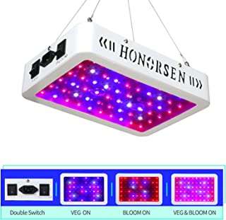 HONORSEN 600W Led Grow Light Full Spectrum Double Switch Veg and Bloom Plant Growing Lamps with Daisy Chain Function Plant Light for Indoor Plants (Dual Chip 10W LEDs)
