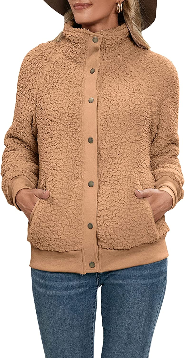FOCUSNORM Women's Fashion Long Sleeve Lapel Button Faux Shearling Shaggy Coat Jacket with Pockets Warm Winter