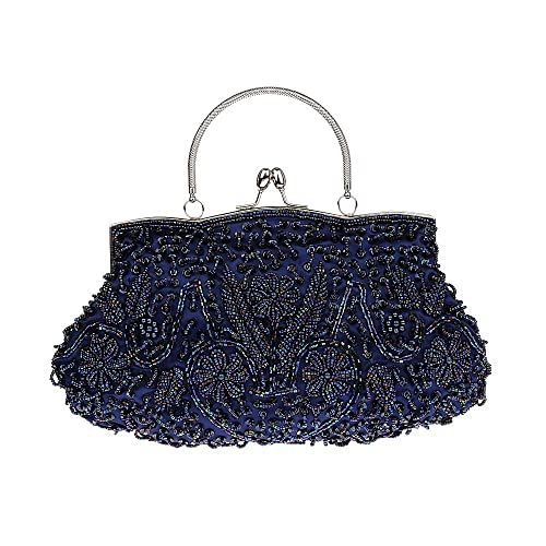 VENI MASEE Collection Antique Floral Seed Bead   Sequin Soft Clutch Evening  Bag 113a22fe3838e