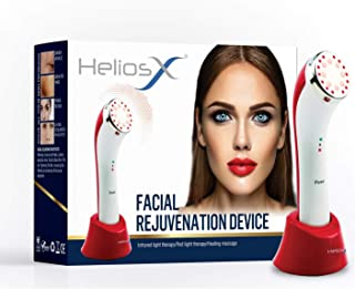 Helios X Facial Rejuvenation LED Infrared Light & Heat Therapy 3-In-1 Device for wrinkles, skin tightening, and collagen p...