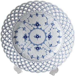 """Blue Fluted Full Lace 9.75"""" Luncheon Plate"""