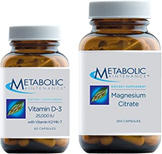 Metabolic Maintenance Set with Magnesium Citrate - Pure Magnesium + Vitamin C Supplement (250 Capsules) + Vitamin D-3 25,0...
