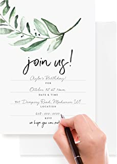 Bliss Collections 25 Invitations With Envelopes For All Occasions Greenery Invites Perfect For Weddings Bridal Showers Eng...