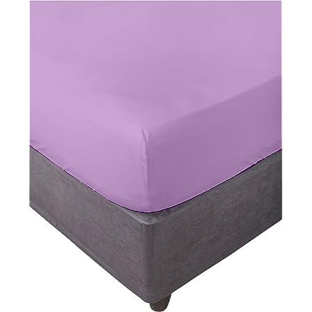 Miracle Home Drap Housse /élastique Doux et Confortable en Coton 50/% Polyester Mauve 180 x 200 cm