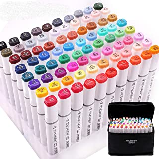 TOUCHNEW Anime Marker Pens, 80 Colours Art Manga Markers Alcohol Based Ink for Animation,Painting and Sketch with Carry Bag