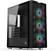 GOLDEN FIELD MAGE-B Computer Case Gaming PC ATX/MATX/ITX Case Mid Tower with 3 Colorful LED Fans Tempered Class Side Panel...