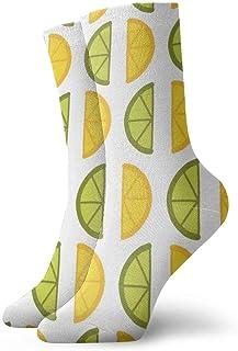 Limón verde y amarillo Calcetines cortos transpirables Calcetines clásicos de algodón de 30 cm para hombres Mujeres Yoga Senderismo Ciclismo