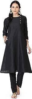Abhishti Banarasi Cotton silk Side Placket A line Kurta With Bottom/Pant Avaliable in -XS,S,M,L,XL