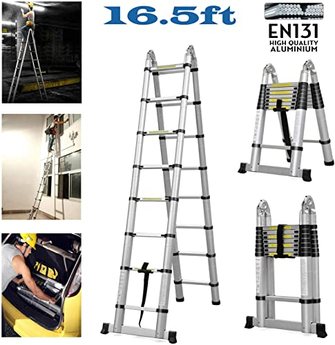 wholesale Bowoshen Telescoping Ladder new arrival 16.5ft A-Frame outlet sale Aluminum Extension Multi-Purpose Folding Ladders with Support Bar Anti-Slip EN131 Certificated 330lb Load Capaciaty online