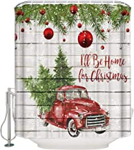 """FunDecorArt 36"""" x 72"""" Shower Curtain with Hooks, I Will Be Home for Christmas Red Pickup Truck with a Christmas Tree - Fabric Shower Curtains for Bathroom Decor   Machine Washable"""