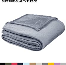 Soft Fleece Throw Blanket – Plush Lightweight Blanket for Bed or Couch - Embossed Flannel Blanket for Bedroom, Living Room and Travel – Grey, Queen Blanket by Blissford