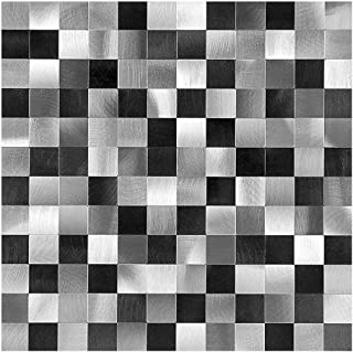 Decopus Peel and Stick Metal Tile Backsplash (1pc/Sample MS25 Black Silver Grey Mosaic) for Kitchen Bathroom, Table Tops, Wall Accents. 12''x 12''x0.16'', Self Adhesive Metal Mosaic Tile Stick On