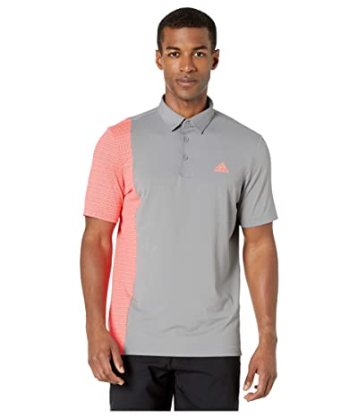adidas Golf Ultimate365 Blocked Print Polo Shirt (Grey Three/Flash Red/Grey Three) Men