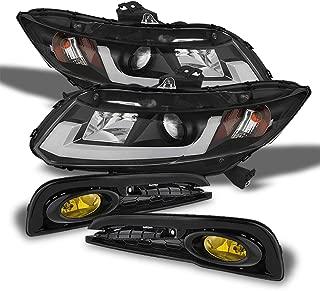 For Honda Civic 4 Doors Sedan Black Bezel DRL Light Tube Projector Headlights+Fog Light W/Switch