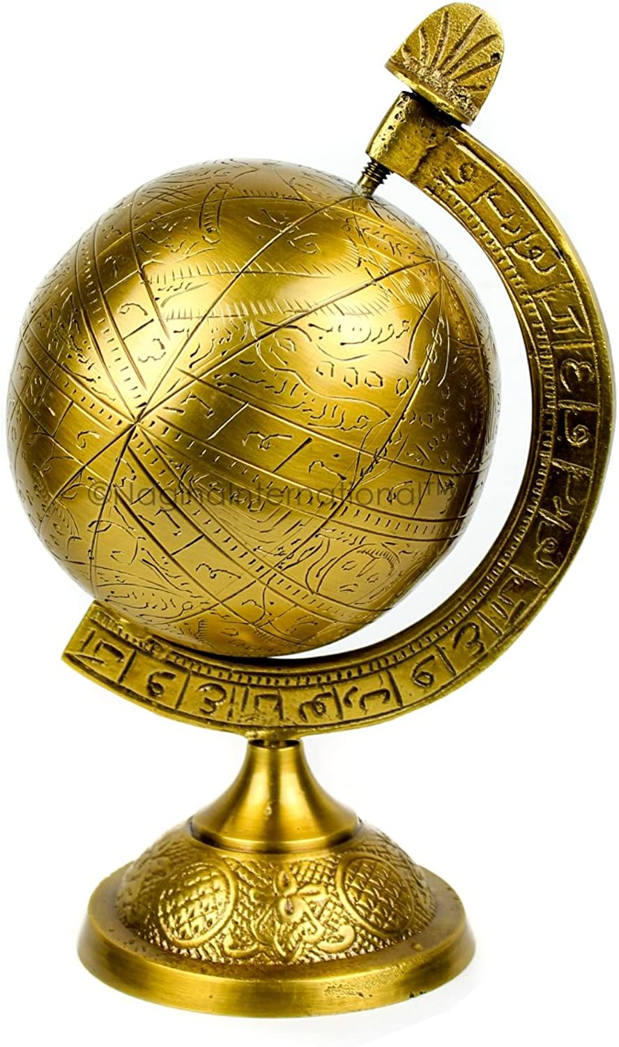Nagina International Decorative Hanging & Standing Solid Antique Brushed Brass Armillary Sphere   Nautical Antique Globes   Vintage Decor Ornaments (Small Standing Sphere)