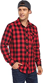 Men's Casual Long Sleeve Plaid Flannel Shirt Button Front with Chest Flap Pocket