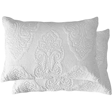 Winlife 100 Cotton Quilted Pillow Sham Floral Printed Pillow Cover Cream White Home Kitchen
