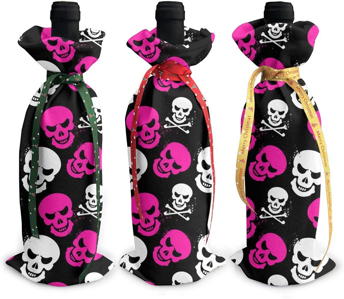 Skull wholesale Pink Death Halloween3Pcs lowest price Christmas Xmas Red Glass Bot Wine