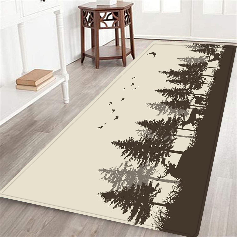 NINEHASA Long Floor Ranking TOP17 Mat Carpet Deer Max 77% OFF Bird Forest Cabin Fog in The