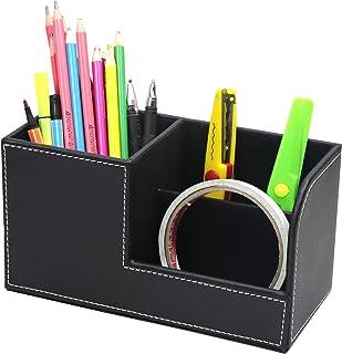 Homeanda Multifunctional desk organiser, 3 storage compartments, pen holder, PU leather pen holder (Black)