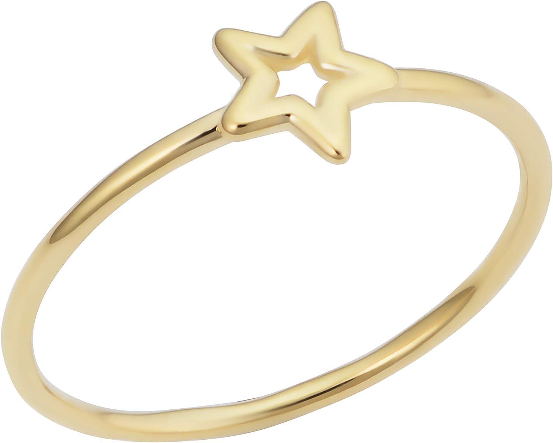 KoolJewelry Minimalist 14k Yellow Gold 6.7 mm Small Star Ring
