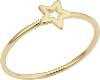 KoolJewelry Minimalist 14k Yellow Gold 6.7 mm Small Star Ring