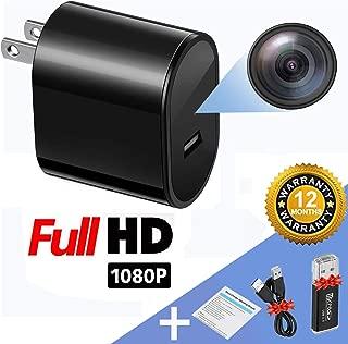 wishpower Spy Camera USB Hidden Camera WallCharger 1080P HD Motion Detection Mini Hidden Camera Upgrade, Free USB Line, Black