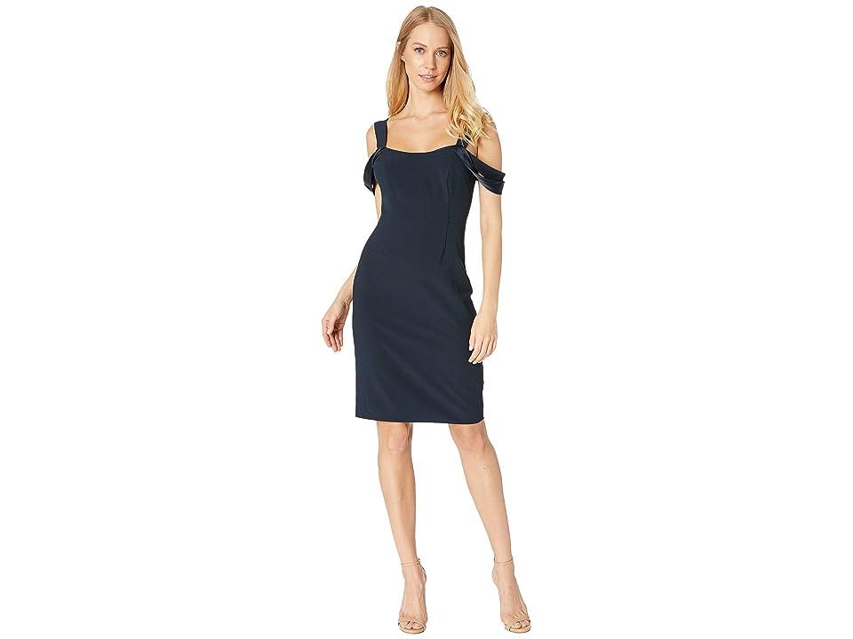 Halston Heritage Cold Shoulder Open Neck Slim Crepe Dress (Dark Navy) Women