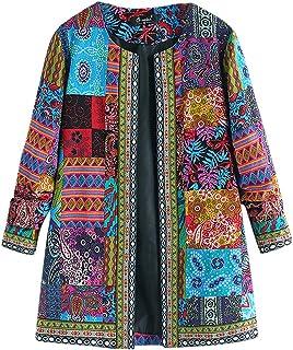 Plus Size Cardigan Coat for Women, Fankle Ethnic Print Long Sleeve Cotton Linen Vintage Jacket Parka Outwear L-5XL