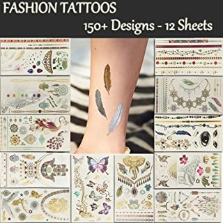 Temporary Tattoos 12 Premium Sheets Metallic Flash - 150+ Shimmer Designs in Gold, Silver, Black - Fake Jewelry Tattoos - Bracelets, Feathers, Wrist & Arm, Eyes,Peacock,Datura,Elephant,Butterfly etc