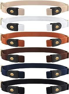 6 Pieces Unisex No Buckle Stretch Belt Adjustable No Buckle Waist Belt Invisible Elastic Belt for Jeans Pants Skirts