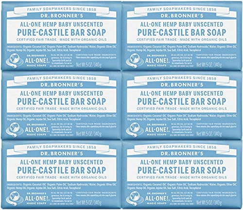 Dr. Bronner's - Pure-Castile Bar Soap (Baby Unscented, 5 ounce, 6-Pack) - Made with Organic Oils, For Face, Body and ...