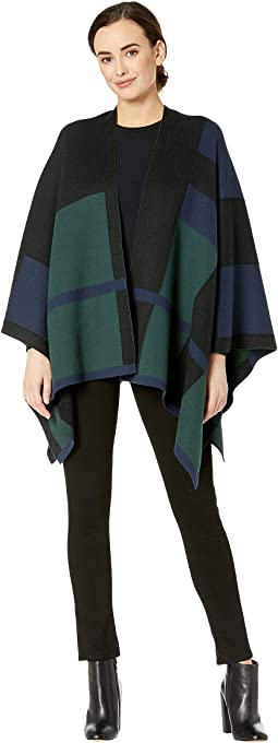 Plaid Cotton-Blend Poncho