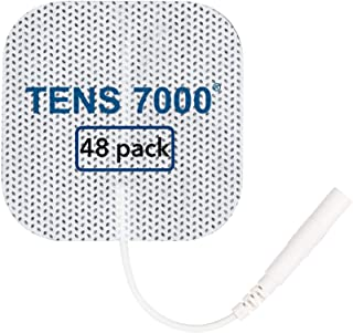 """پانل های TENS 7000 رسمی TENS - پد های OTC TENS Premium با کیفیت بالا، 2 """"X 2"""" - سازگار با اکثر دستگاه های TENS، پلاگین های Replacement Electrodes، 48 Count"""