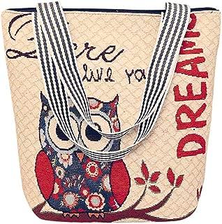 Fashion Women's Canvas Owl Cartoon Handbag Female Shoulder Messenger Bag Ladies Satchel Tote Bags
