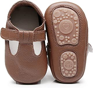 Baby Boys Girls Fox Mary Jane Sandals Moccasins Shoes Rubber Sole Crib Toddler Leather Prewalker