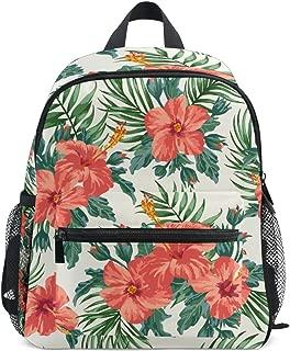 Lightweight Tropical Hawaiian Plumeria And Hibiscus Flowers School Backpack Book Bag for Girls Teens Kids